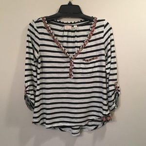 Black and White Striped Henley From Anthropologie